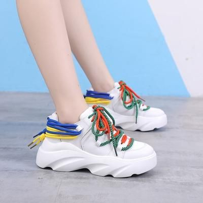 Woman Casual Sneakers Ladies Sport Platform Lace-up Flat Shoes 9