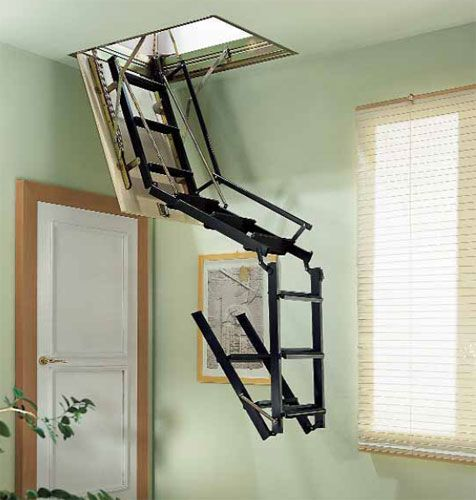 Wonderful 4PL Loft Ladder. Retractable ...