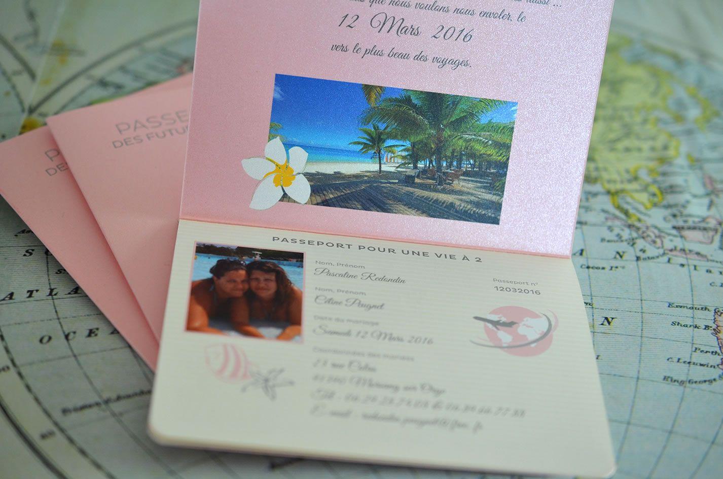 Faire-part Passeport Voyage Mariage