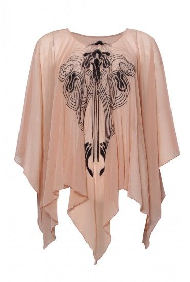 Deco Embroidered Mesh Cape - Tops - Clothing