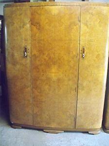 Large Art Deco bow front burr burl walnut triple door fitted wardrobe   eBay