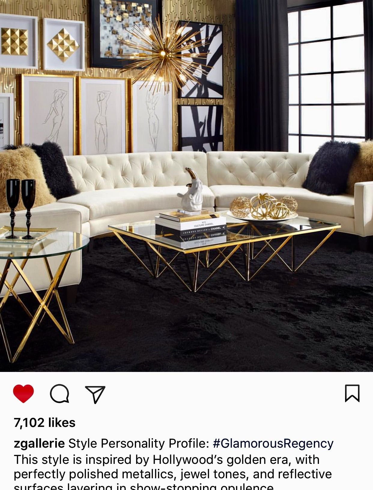 Love Old Hollywood Glam Mid Century Modern Elements Gold Living