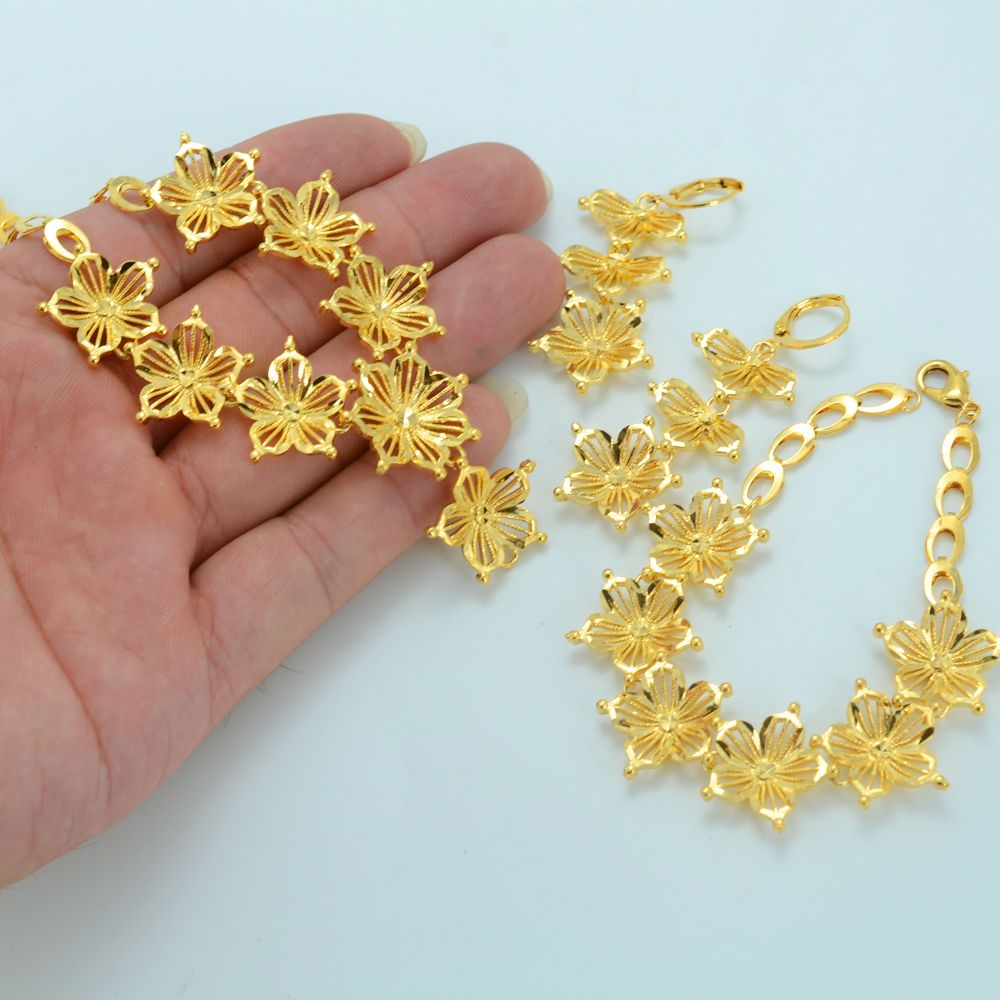Gold Flower Jewelry Sets Necklace X2f Earrings X2f Bracelet 18k Gold Plated Blosso Gold Necklace Designs Gold Jewelry Fashion Gold Jewellery Design Necklaces