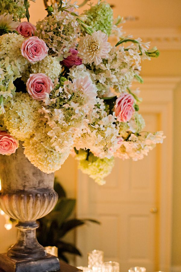 Rustic Elegant Hydrangea Rose Centerpiece Weddings