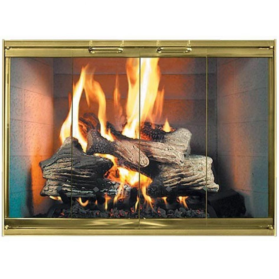 Furniture Stainless Steel Gold Frame Glass Doors For Fireplace With