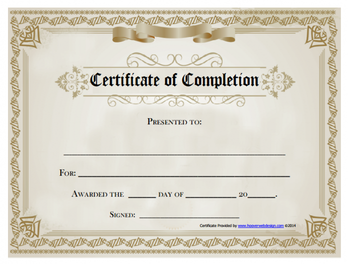 graphic regarding Free Printable Certificate of Completion called 21+ Certification of Completion Templates No cost Printable