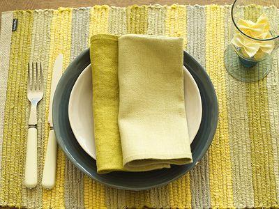 Linen Placemat & Napkins Celery, Citrine