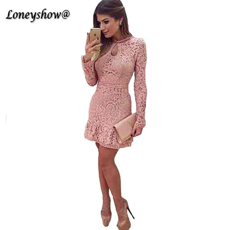 04053195f5c3 Loenyshow Womens Elegant Wedding Party Sexy Night Club O Neck Long Sleeve  Pink Sheath Bodycon Lace