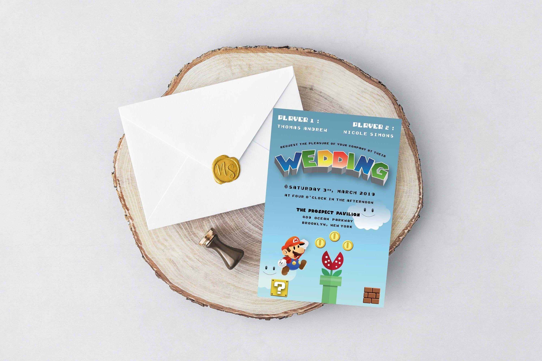 PRINTABLE Mario Wedding Invitation template | Video game wedding invitation | Mario and Peach | Geek wedding invitation Save the date
