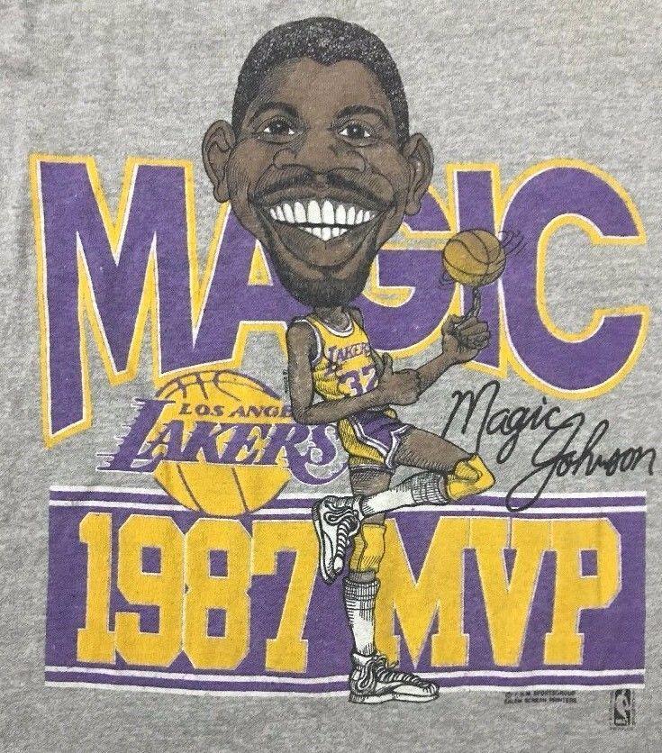 a759933ff64 1987 LA LAKERS MVP MAGIC JOHNSON Gray T-Shirt Size Large SCREEN STARS  vintage LG  screenstars  LosAngelesLakers