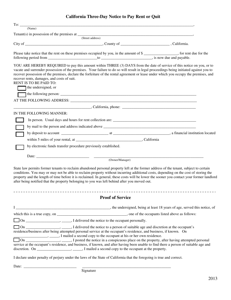 free form 3 day notice pay quit california  California 7-Day Notice to Quit Form | Non-Payment of Rent ...
