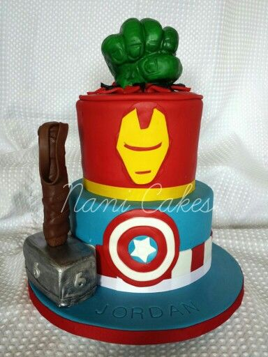 anvengers fondant cake hulk thor iron man captain america