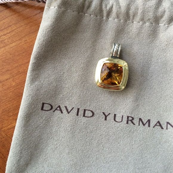 David Yurman two tone citrine enhancer Sterling silver DY enhancer featuring a citrine bezel set in 18k yellow gold, with textured cable hinged clip bail. In excellent condition! Comes with pouch. David Yurman Jewelry