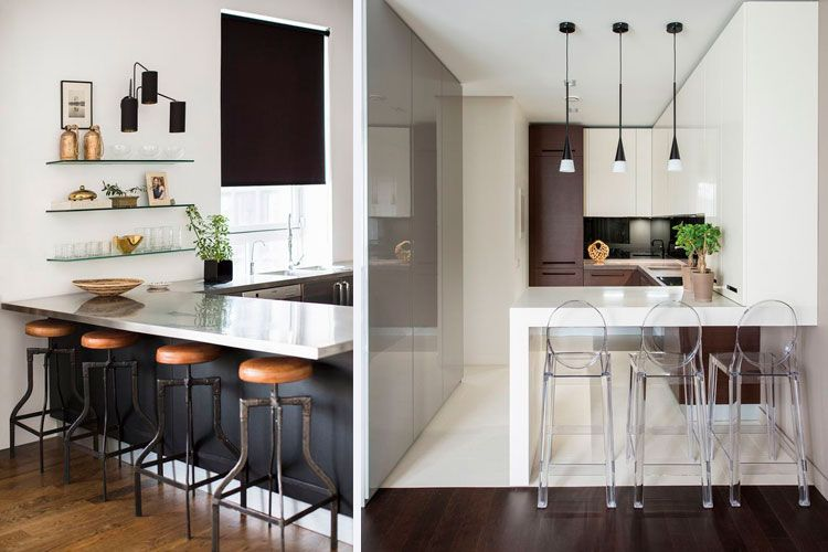 Cocinas pequeñas con barra americana Decofilia arquitectura - barras de cocina