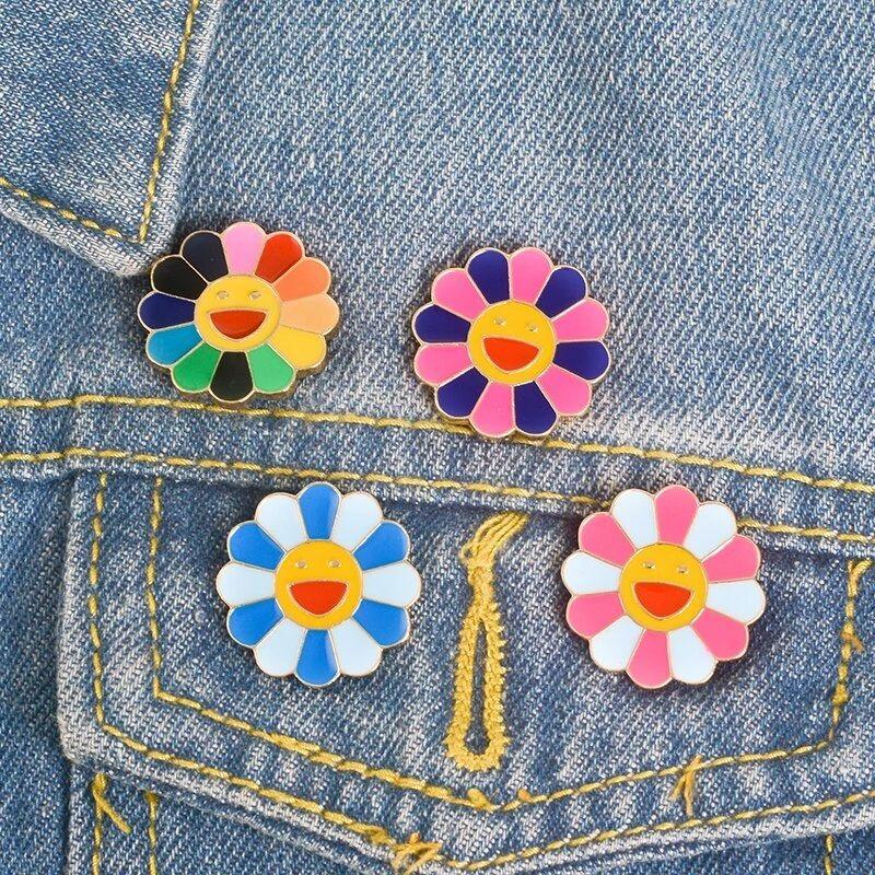 Colorful Rainbow Flower Brooch Lapel Enamel Pin Set