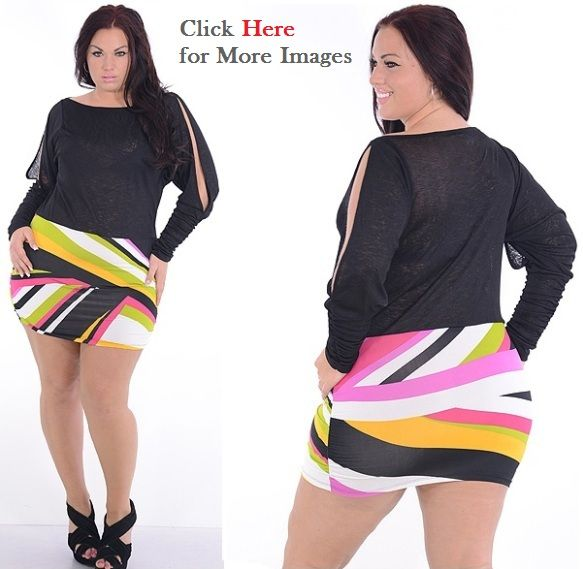 Affordable plus size nightclub dresses with split sleeves ...