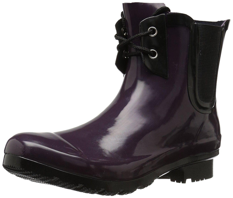 Women S Chelsea Lace Up Rain Boots Eggplant