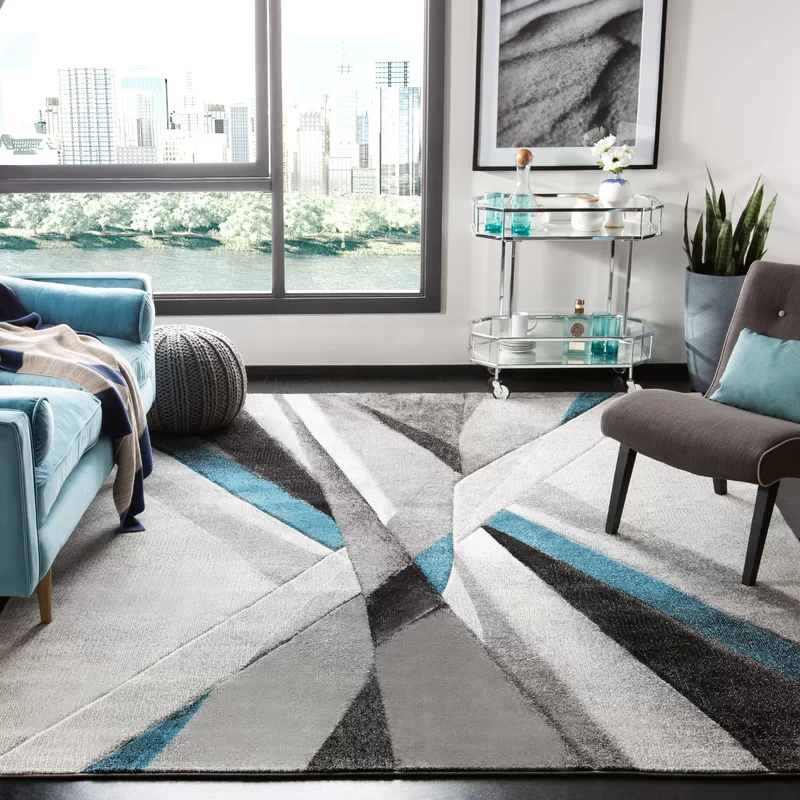 Anne Abstract Gray Teal Area Rug In 2020 Teal Living Room Decor Teal Living Rooms Rugs In Living Room #teal #and #rust #living #room