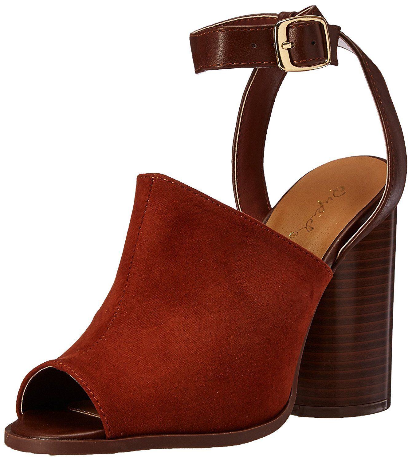 4f7e60fa46e0 Qupid Women s Bondi-02 Heeled Sandal. Architectural faux wood heeled mule  with ankle strap. Women s Shoes