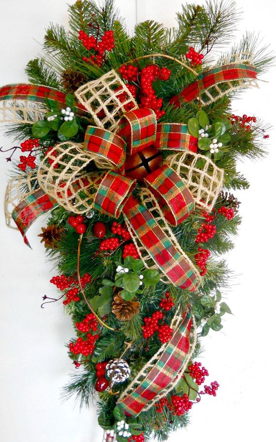 Christmas Garland with Tartan Ribbon Fir Cones and Berries