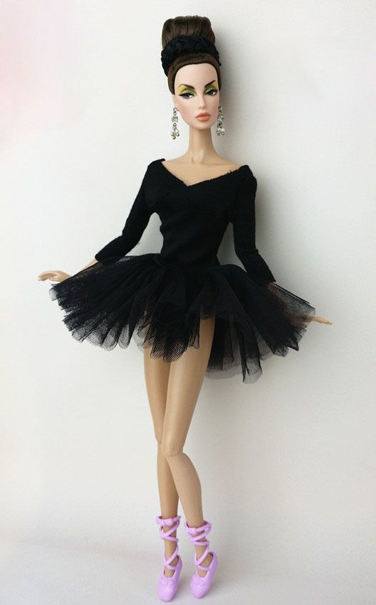 Lovely Black Pink Ballet Skirt tutu Dress outfit clothes For 11.5in.Doll