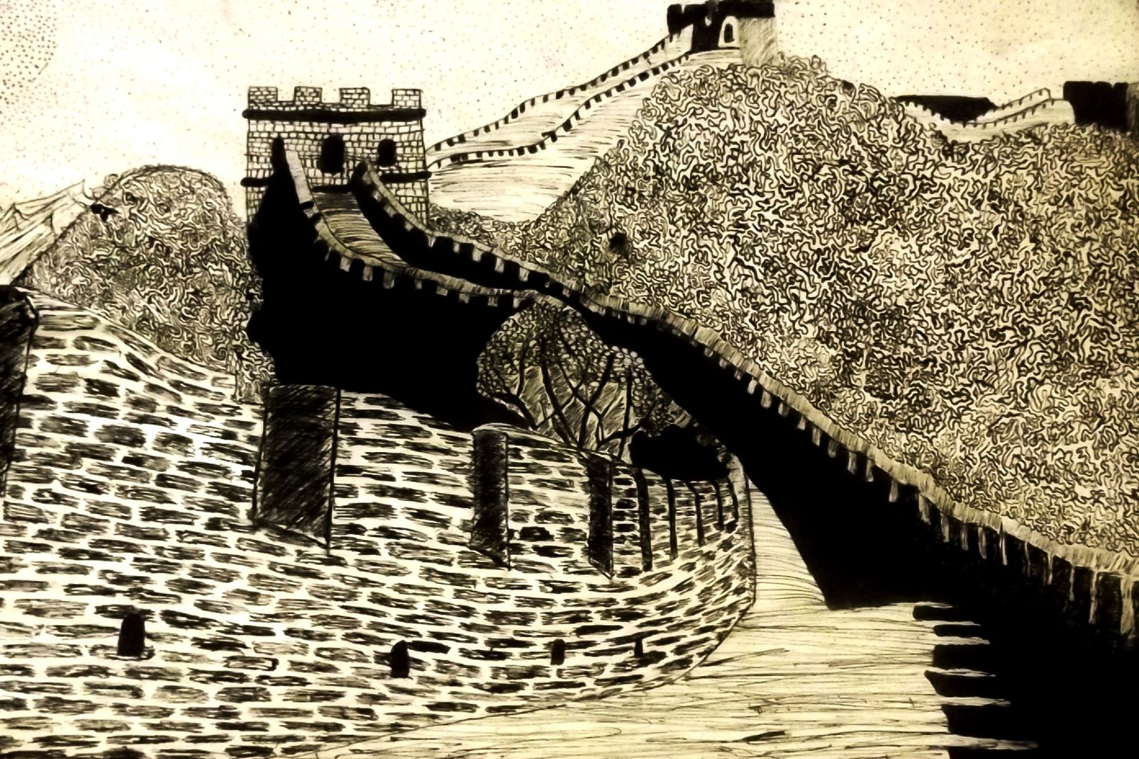 great wall of china pen and ink
