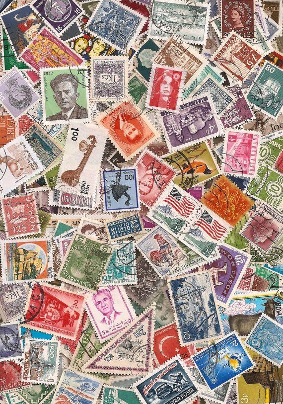 Lot of 300 Vintage and Modern Canceled Postage Stamps ...