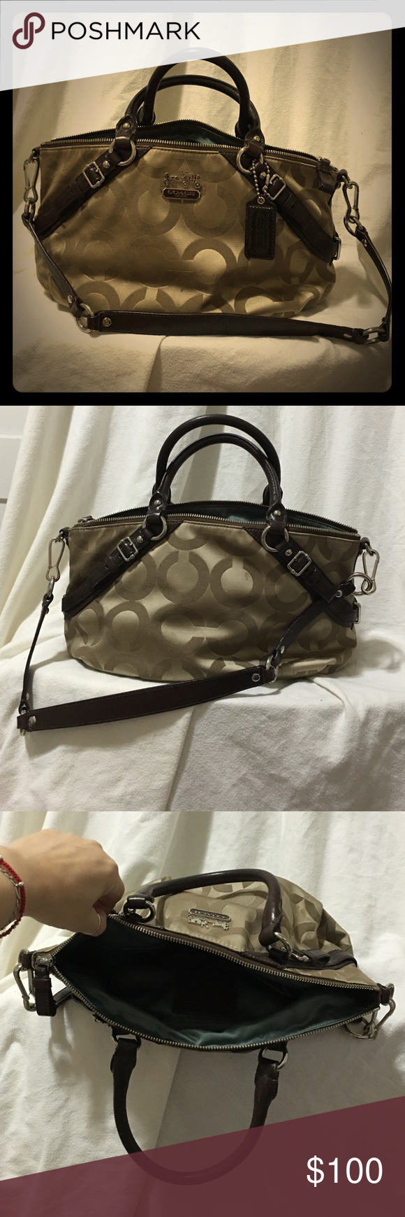 AUTHENTIC COACH BAG BEAUTIFUL COACH BAG WITH ZIPPER STRAP NO DAMAGE ONLY FEW PEN MARKS INSIDE. IN MINT CONDITION! COACH Bags Shoulder Bags