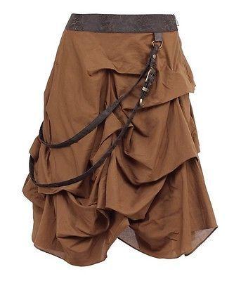 1f58d713070121 Geraffter Steampunk Rock mit Riemen Braun Mittelalter Larp Jahrgang Skirt  dress | Röcke | Damenmode - Zeppy.io