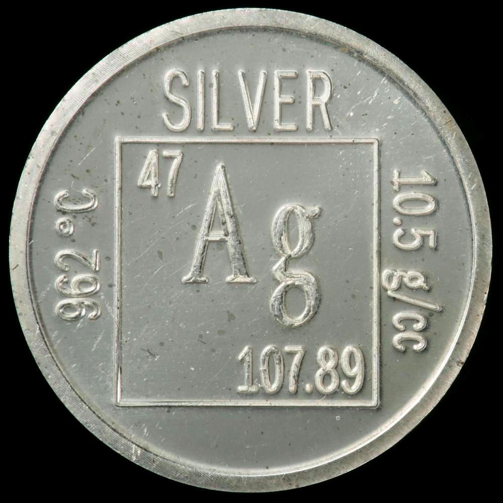 Silver is 47 on the periodic tablensity 105 gmcc element coin a sample of the element silver in the periodic table gamestrikefo Choice Image