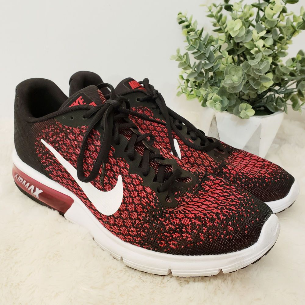 ea95443e3043d Men s Nike Air Max Sequent 2 Black Red White Running Shoes Sneakers Size  10.5  Nike  RunningShoes