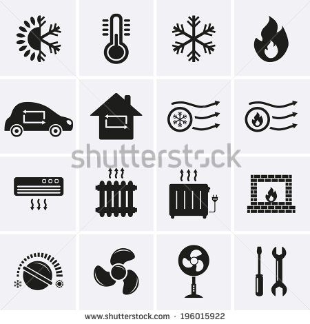 Heating And Cooling Icons Illustration Artwork Drawing Icon