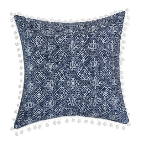 LUX-BED 1 Piece Pearce Garden NEW!! LUX-BED Collections!! 100% Cotton 200 Thread Count Aztec Kilim Embroidered Tribal Inspired stitch Technique with pom pom trim 16x16 inch Decorative Pillow Navy, Blue