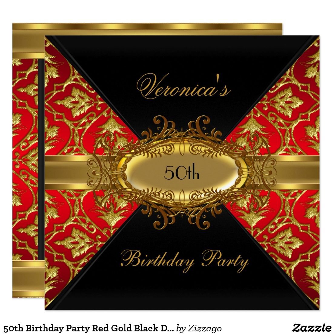 50th birthday party red gold black damask invite in 2018 happy