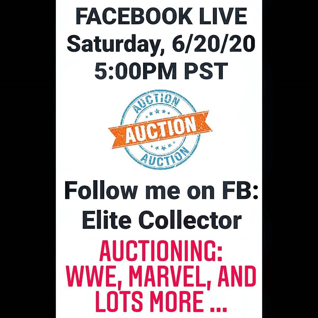 Come one come all to my very first Live Auction on my Facebook page!!! #wwe #wweelite #selling #auctions #collector #WWEELITESQUAD #wrestling #marvel #buy #wweuniverse #sanfrancisco #bayarea #toys #collection #toysandcollectibles #elitecollectibles #elitecollectors