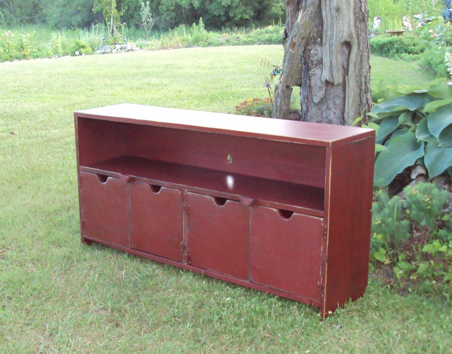 48 Inch Wide Barn Red Over Black SHABBY CHIC TV Cabinet Storage Benchu2026