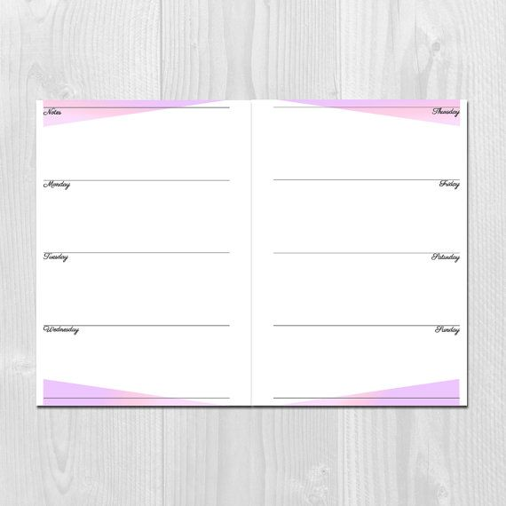 A Printable Weekly Planner With Horizontal Layout  Week On