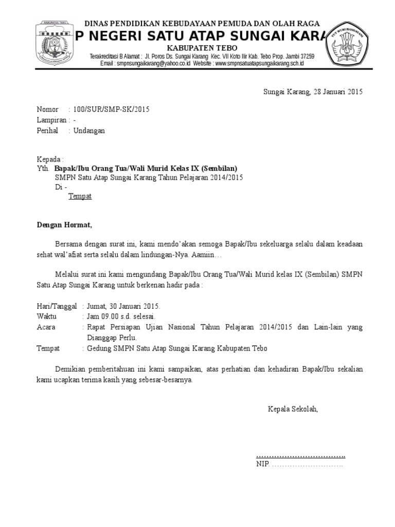 Contoh Surat Undangan Rapat Resmi Organisasi Undangan Surat Organisasi