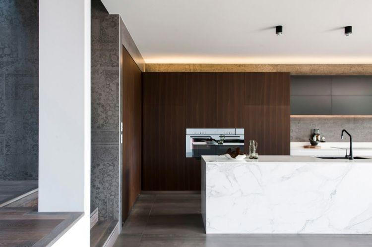 marmor kuche mit beton wand minimalistisch design, marmor küche mit beton wand mit effektvollem muster | kitchen, Design ideen