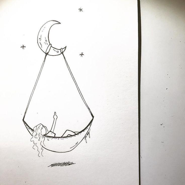 Nach Langem Nachdenken Kam Ich Zu Einer Verwirrung Sketch Art Moon Sky Tattoo Visualartform Tatt Space Drawings Hipster Drawings Art Drawings Simple