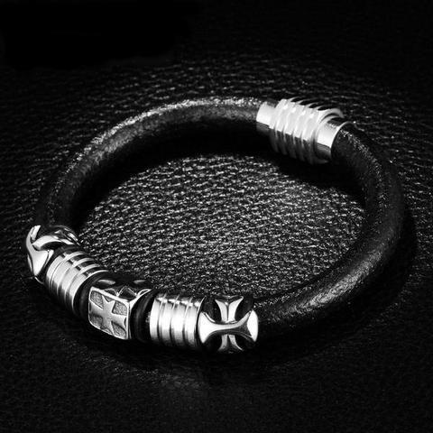 URBAN Bracelet Cuir Noir Motif Croix Mens Jewelry Pinterest