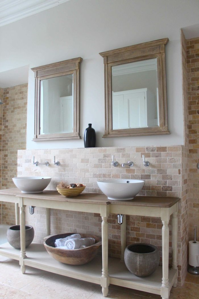 Le meuble sous lavabo - 60 idées créatives - Archzinefr - Meuble Vasque A Poser Salle De Bain
