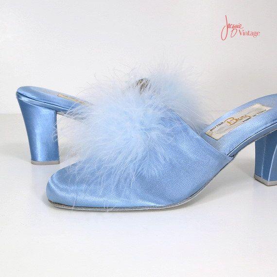 70s Marabou Slippers Light Blue Satin Feather Mules Vintage Boudoir