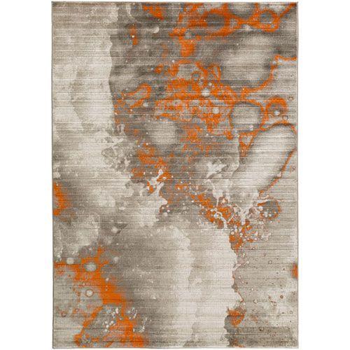 Jax Light Gray And Burnt Orange Rectangular 7 Ft 6 In X 10 Ft 6 In Rug In Rectangular Orange Rugs Orange Home Decor Modern Area Rugs