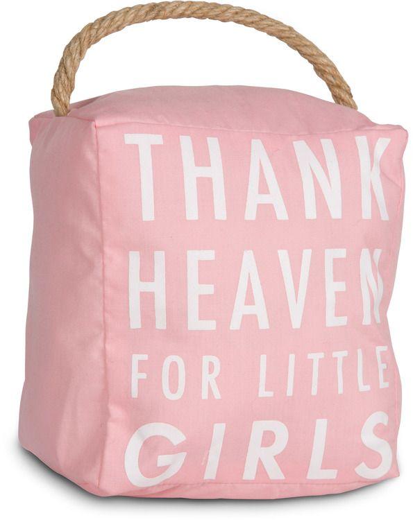 Open Door Decor - Thank Heaven for Little Girls Pink Decorative Door Stopper Shelf Decor Baby Room