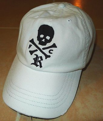 RUGBY Ralph Lauren Skull   Crossbones Distressed Cap Men s Hat White Black  Polo e7bfea918b2