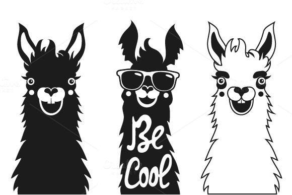 Funny Hipster Typography Llama Set By Julymilks On