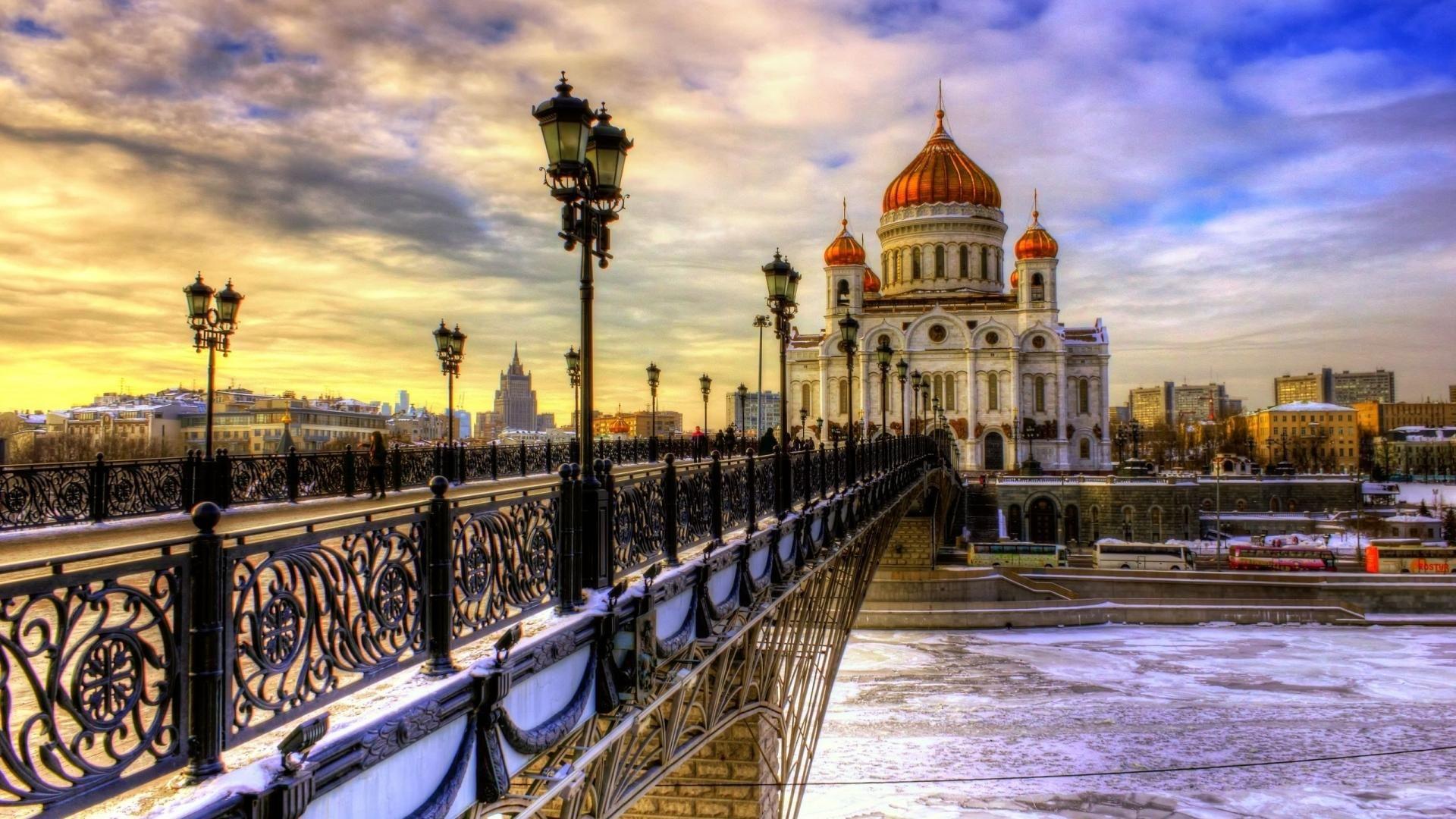 A Bridge To A Beautiful Church In Winter Hdr Hd Wallpaper