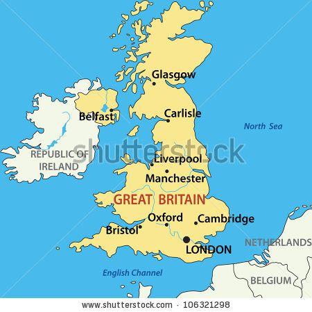 Mapa Gran Bretaña Escocia Inglaterra E Irlanda Glasgow Liverpool Gran Bretaña
