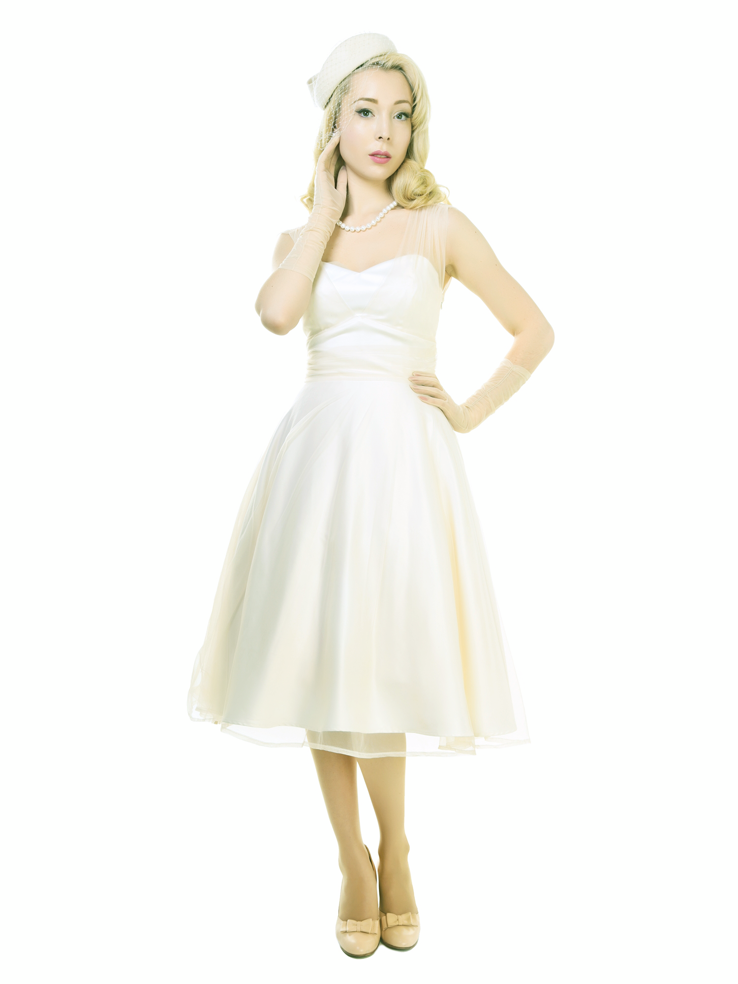Collectif Kleid Sophie Occasion Swing Dress Ivory | Standesamt ...